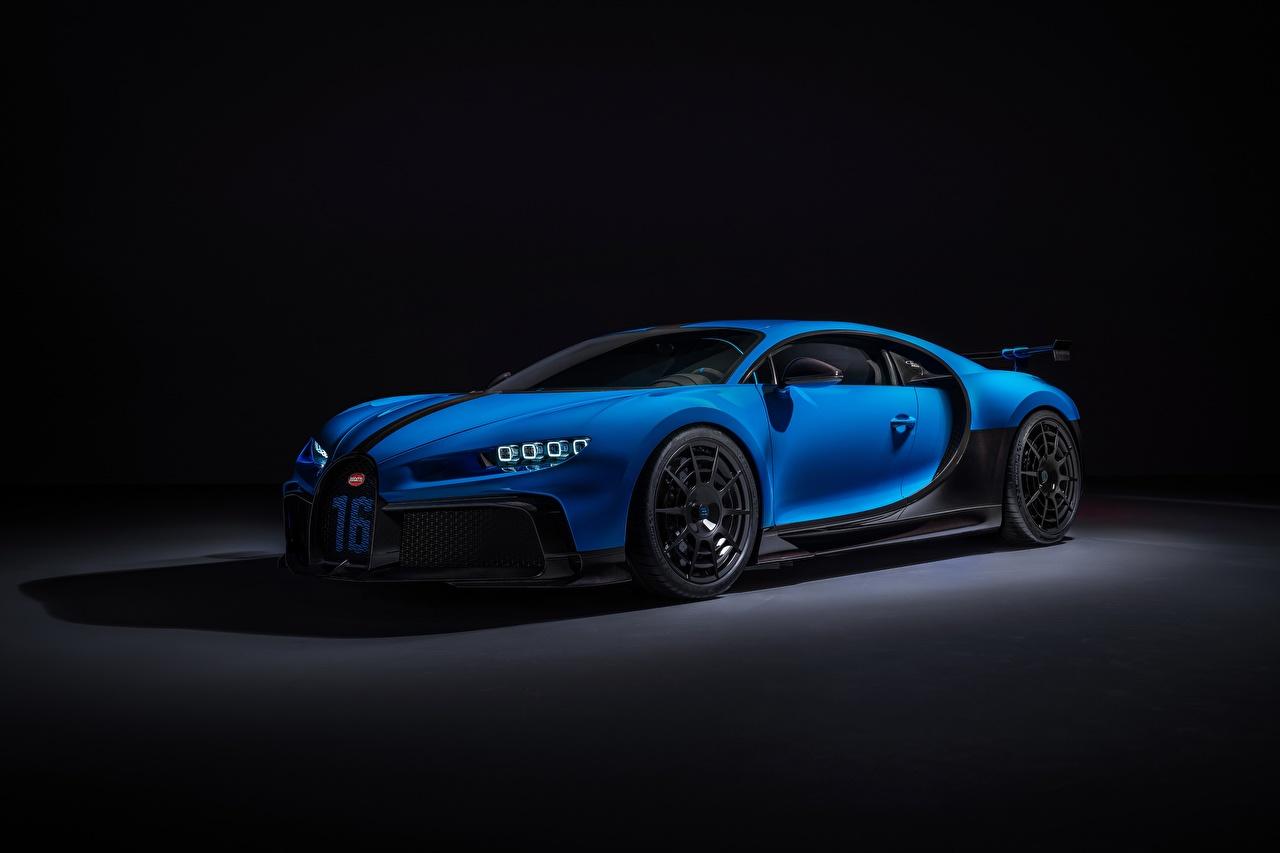 Картинки BUGATTI Chiron, 2020, Pur Sport синяя Металлик Автомобили Синий синие синих авто машины машина автомобиль
