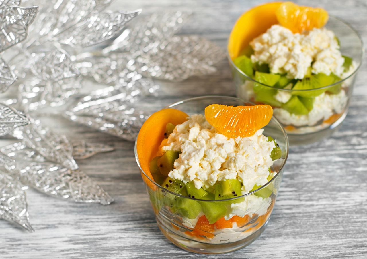Обои для рабочего стола Творог Апельсин Киви Десерт Еда Пища Продукты питания