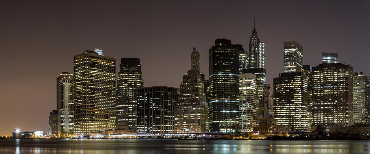 Фотография Нью-Йорк Манхэттен США Ночные Небоскребы город штаты америка Ночь ночью в ночи Города