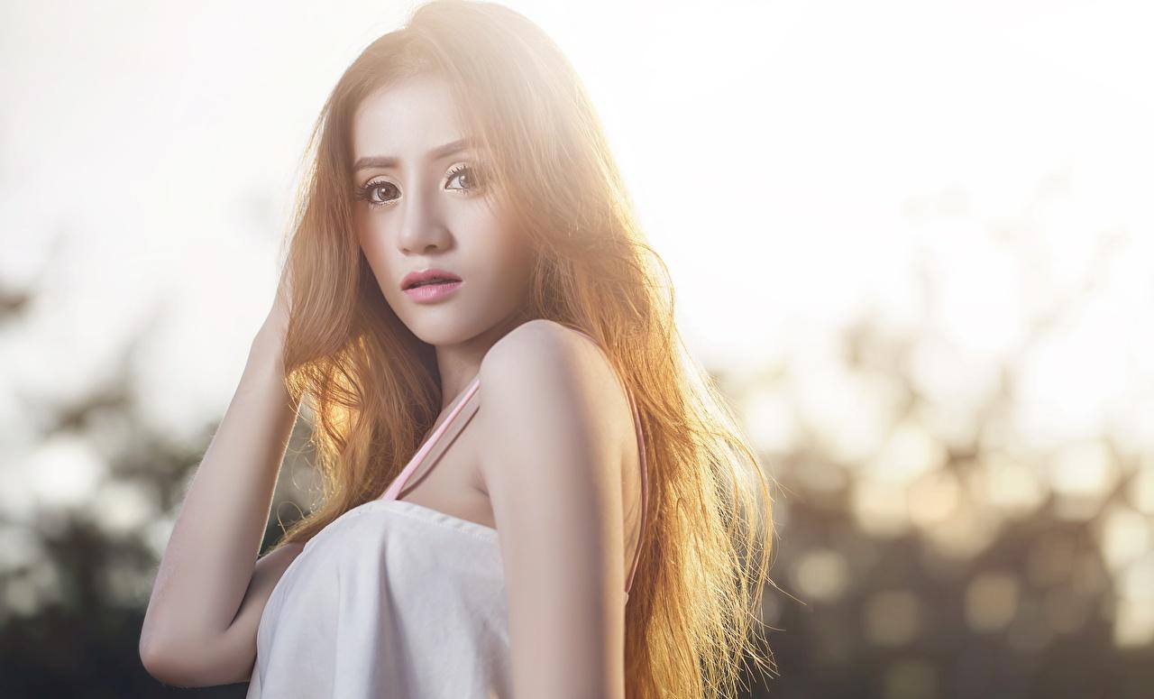 Фото шатенки боке молодые женщины Азиаты рука Взгляд Шатенка Размытый фон девушка Девушки молодая женщина азиатки азиатка Руки смотрит смотрят