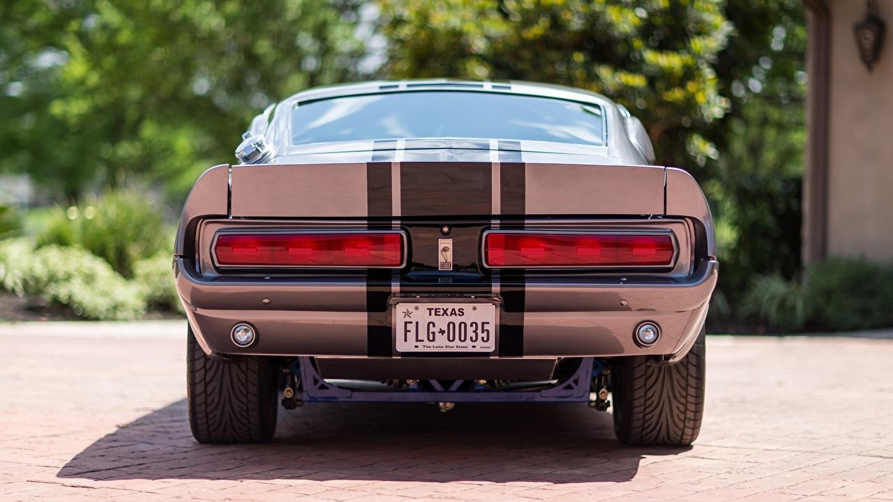 Фото Ford 1967 Mustang GT500E Shelby Eleanor Полоски вид сзади Автомобили Форд авто Сзади машины машина полосатый полосатая автомобиль