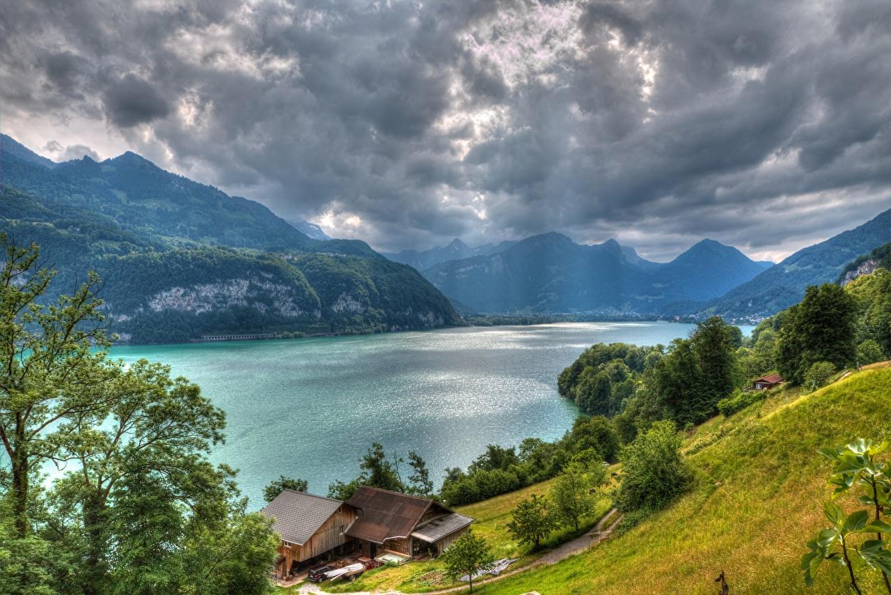 Картинки Альпы Швейцария Lake Walensee Тучи HDRI гора Природа Озеро Здания альп туч HDR Горы Дома