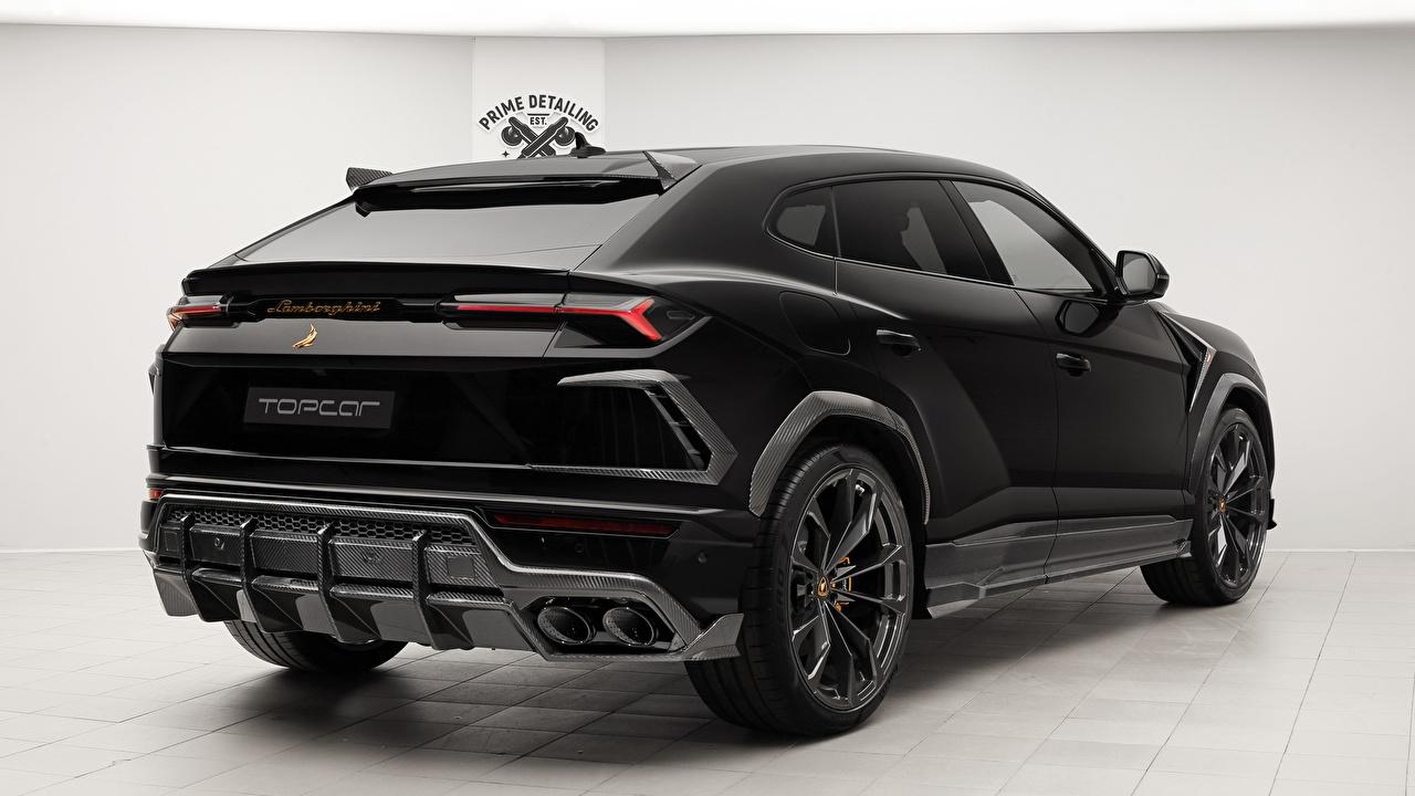 Картинка Lamborghini 2018 TopCar Urus Черный вид Авто Ламборгини Сзади Машины Автомобили