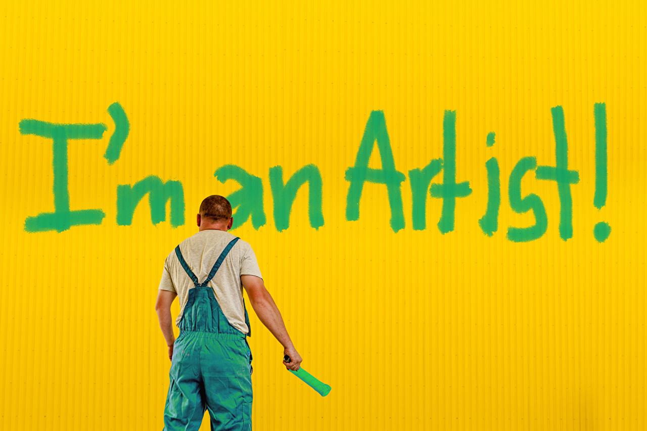 Фотографии мужчина инглийские I'm an artist Слово - Надпись Цветной фон Мужчины английская Английский слова текст