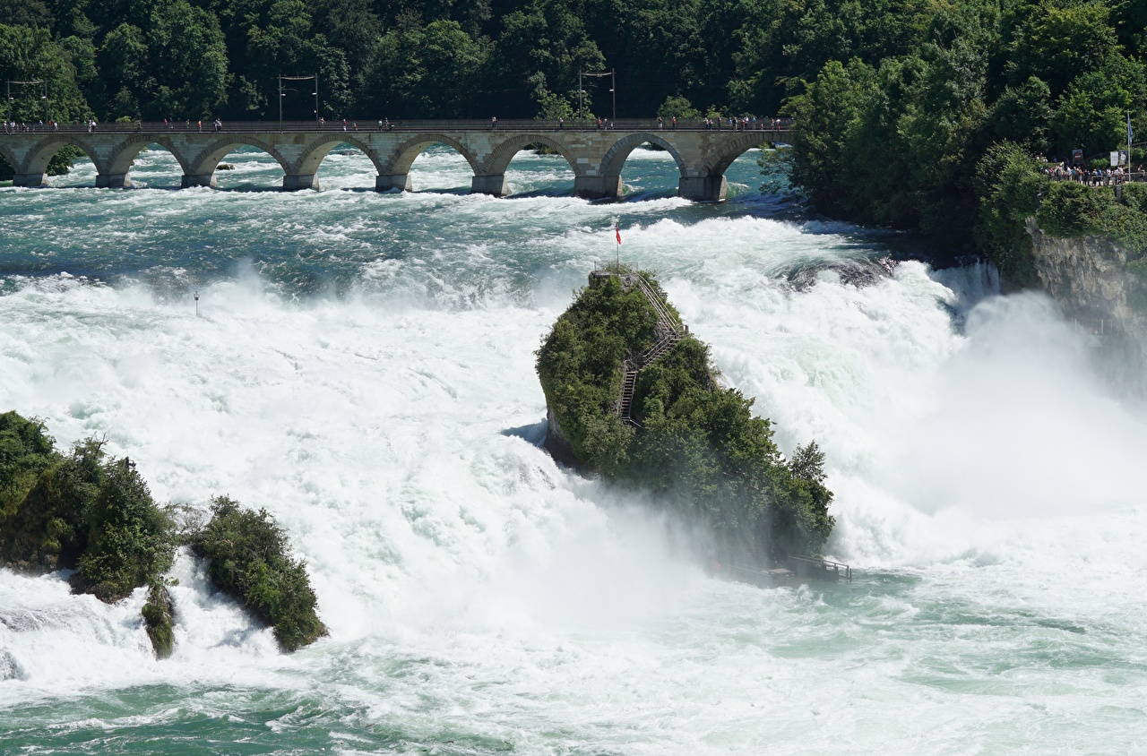 Фотография Швейцария Rhine Falls, Schaffhausen мост Водопады речка Города Мосты река Реки город