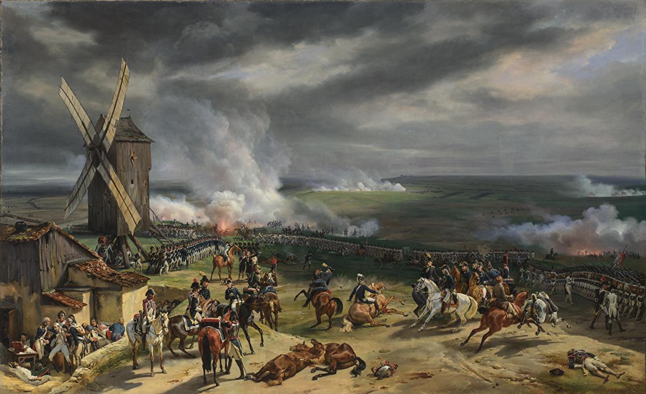 Обои для рабочего стола Война Мельница Emile-Jean-Horace Vernet, The Battle of Valmy  20 September 1792 Живопись мельницы ветряная мельница картина