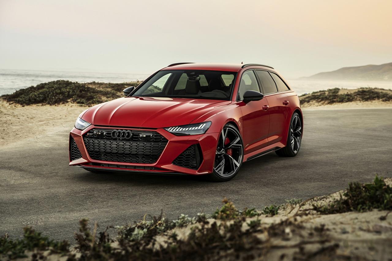 Фотография Audi Универсал 2020 2019 V8 Twin-Turbo RS6 Avant красная Автомобили Ауди Красный красные красных авто машины машина автомобиль