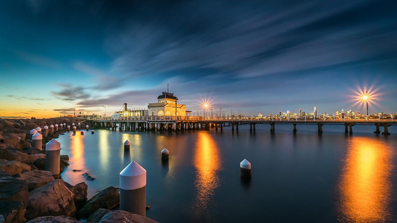 Фотографии Мельбурн Австралия Kilda West Природа Вечер Камни залива Пристань Уличные фонари Залив Пирсы заливы Камень Причалы