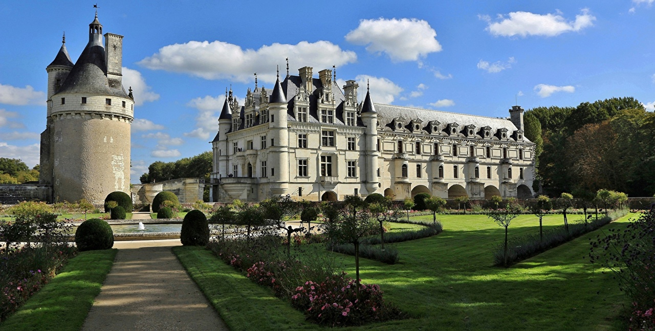 Фотография Франция Фонтаны Башня Château de Chenonceau Замки газоне город Ландшафтный дизайн башни замок Газон Города