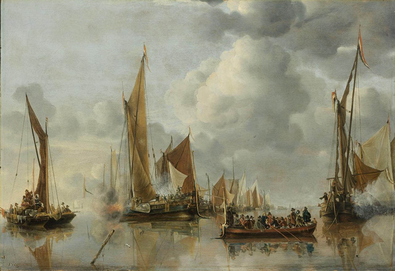 Фотографии Jan van de Cappelle, The State Barge Saluted by the Home Fleet Корабли Лодки картина Парусные Живопись