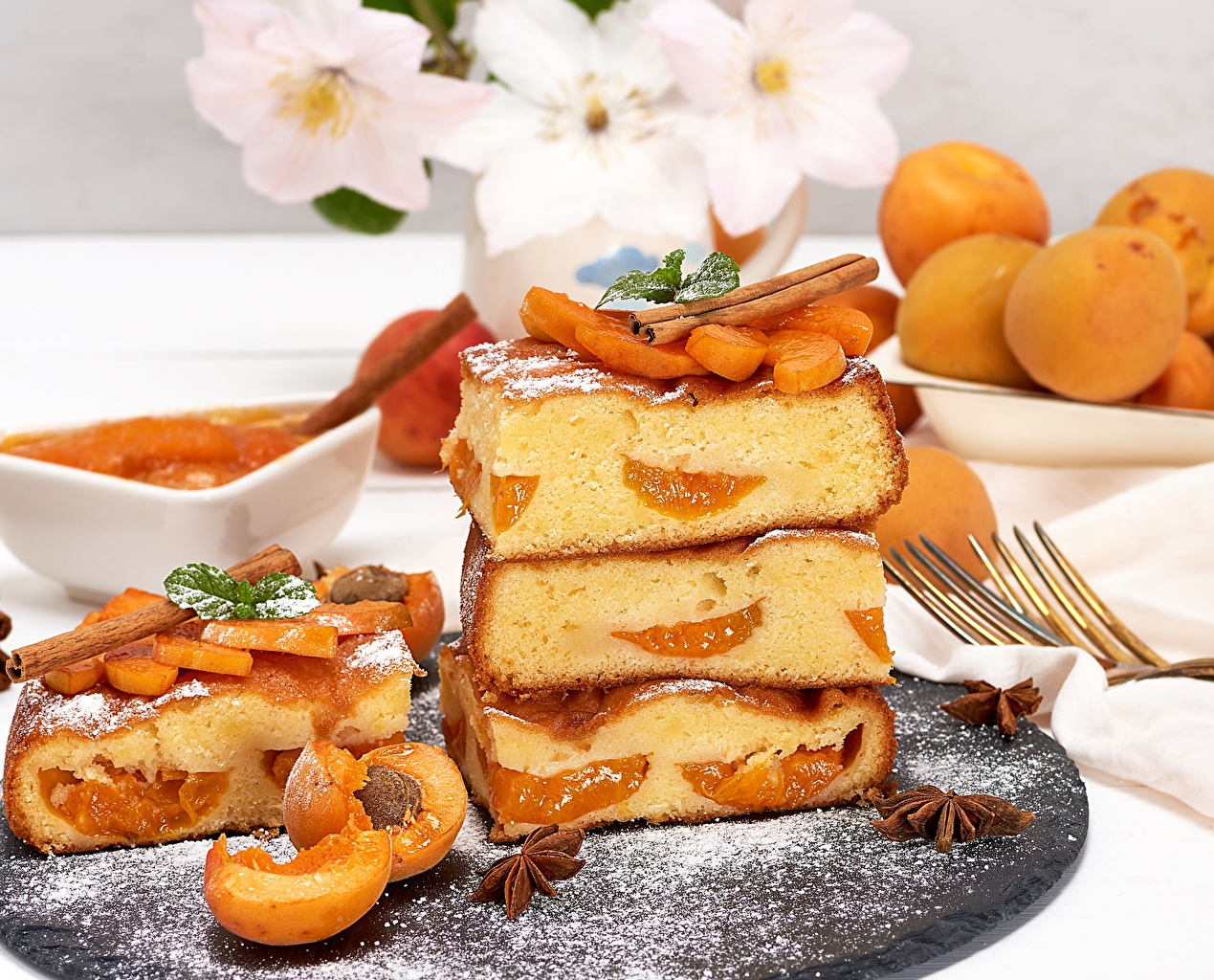 Обои для рабочего стола Пирог Абрикос кусочки Еда часть Кусок кусочек Пища Продукты питания