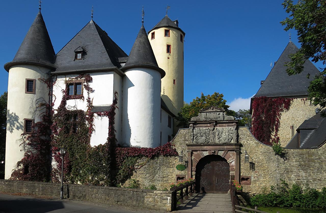 Фотографии Германия Burg Rittersdorf Замки Ворота город Города