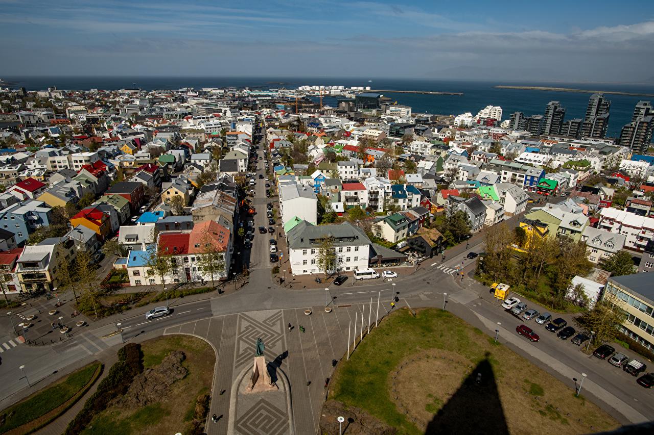 Фотографии Исландия городской площади Reykjavik улице Сверху Дома Города Городская площадь улиц Улица город Здания
