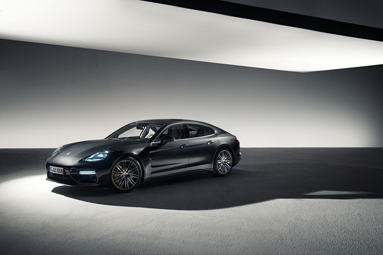 Фото Porsche Panamera Черный машина Порше черных черные черная авто машины автомобиль Автомобили