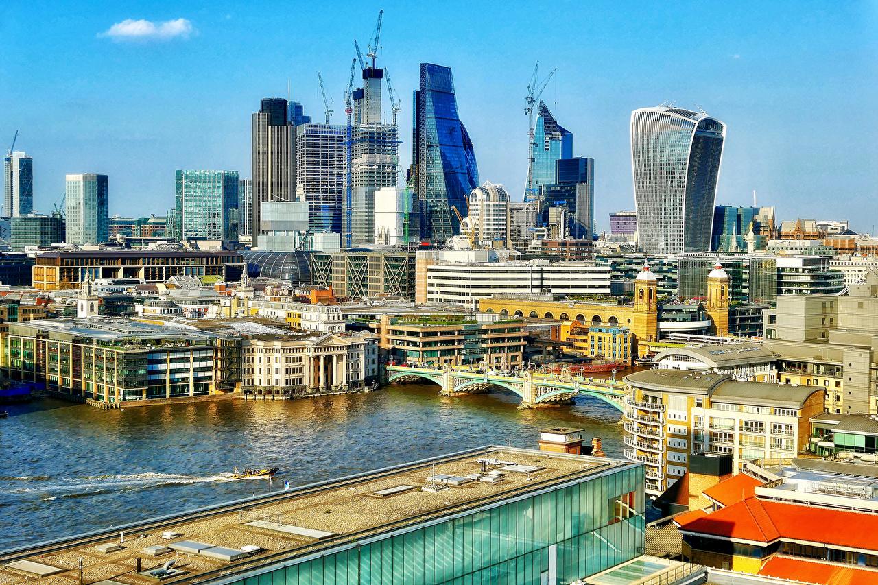 Картинка Лондон Англия Мосты Реки Дома Города лондоне речка Здания