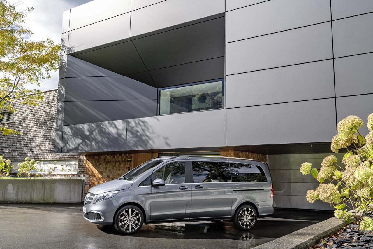 Картинки Mercedes-Benz 2019 V-Klasse Exclusive Line Worldwide Серый Автомобили Мерседес бенц серые серая авто машина машины автомобиль
