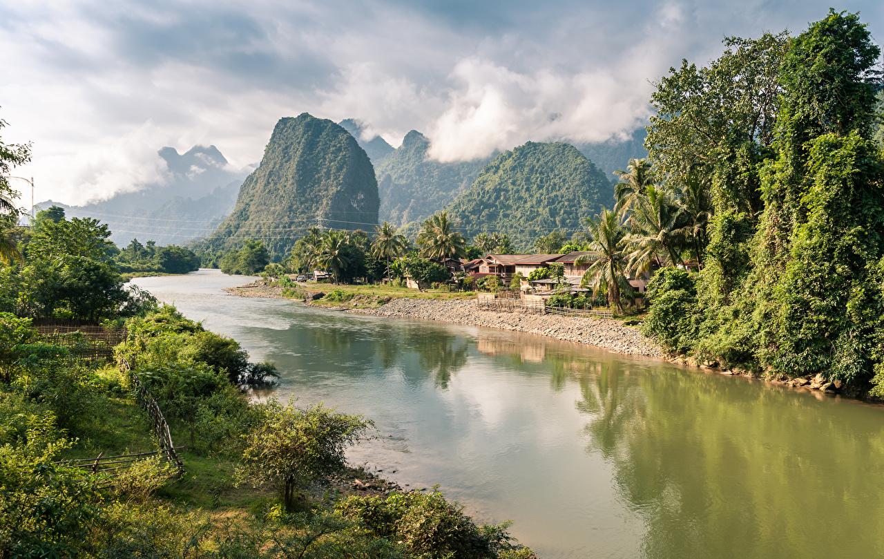 Фото Laos, Nong Khiaw Горы Природа Реки Деревья облачно гора река речка дерево дерева Облака облако деревьев