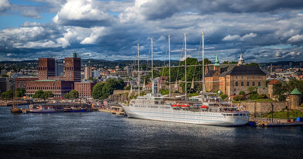 Картинки Осло Норвегия Корабли Дома Города облачно корабль город Здания Облака облако