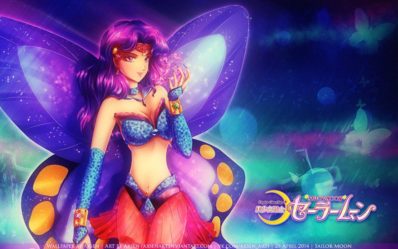 Фотографии Сейлор Мун Бабочки Крылья Аниме Девушки Рисованные Sailor Moon бабочка девушка молодая женщина молодые женщины