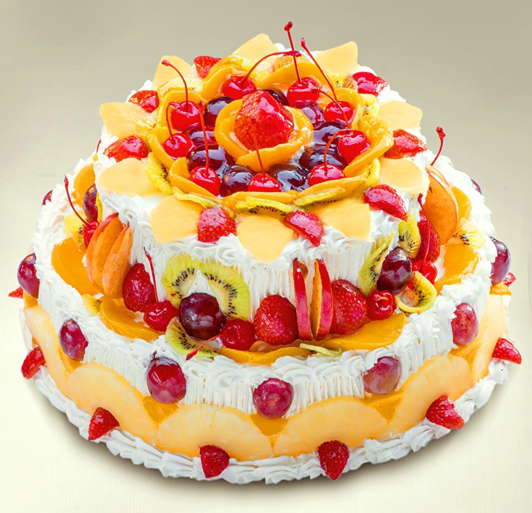 Фотография Торты Черешня Клубника Еда Сладости Дизайн Вишня Пища Продукты питания сладкая еда дизайна