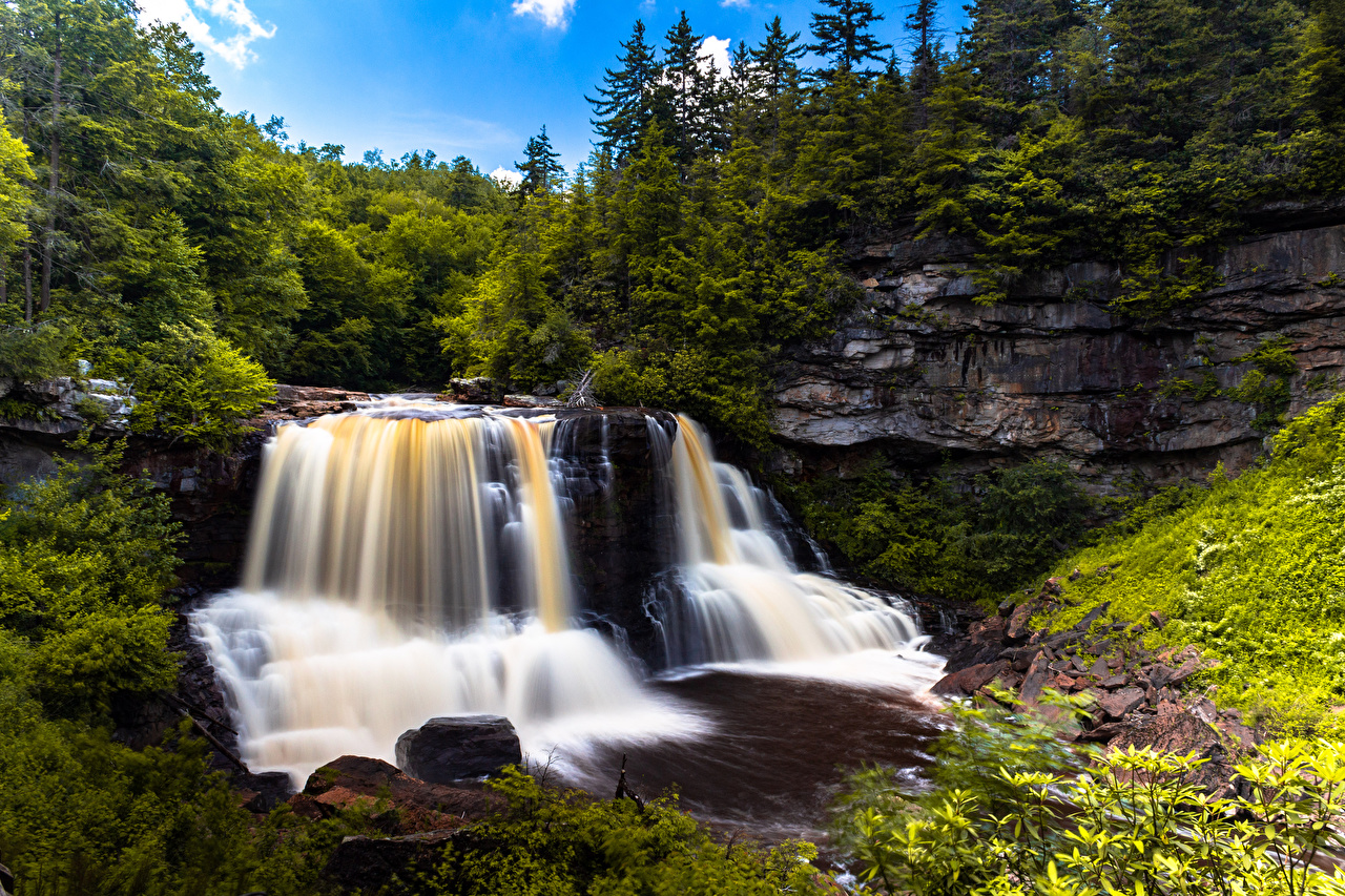 Картинки США West Virginia Скала Природа Водопады лес Реки штаты америка Утес скалы скале Леса река речка