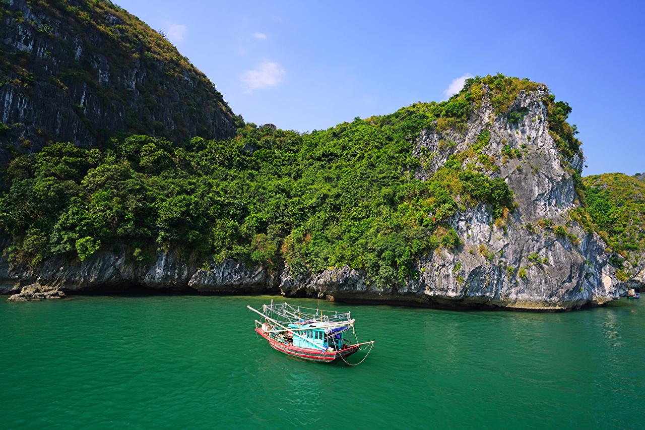 Картинка Вьетнам Lan Ha Bay Скала Природа корабль заливы Катера Утес скалы скале Корабли Залив залива