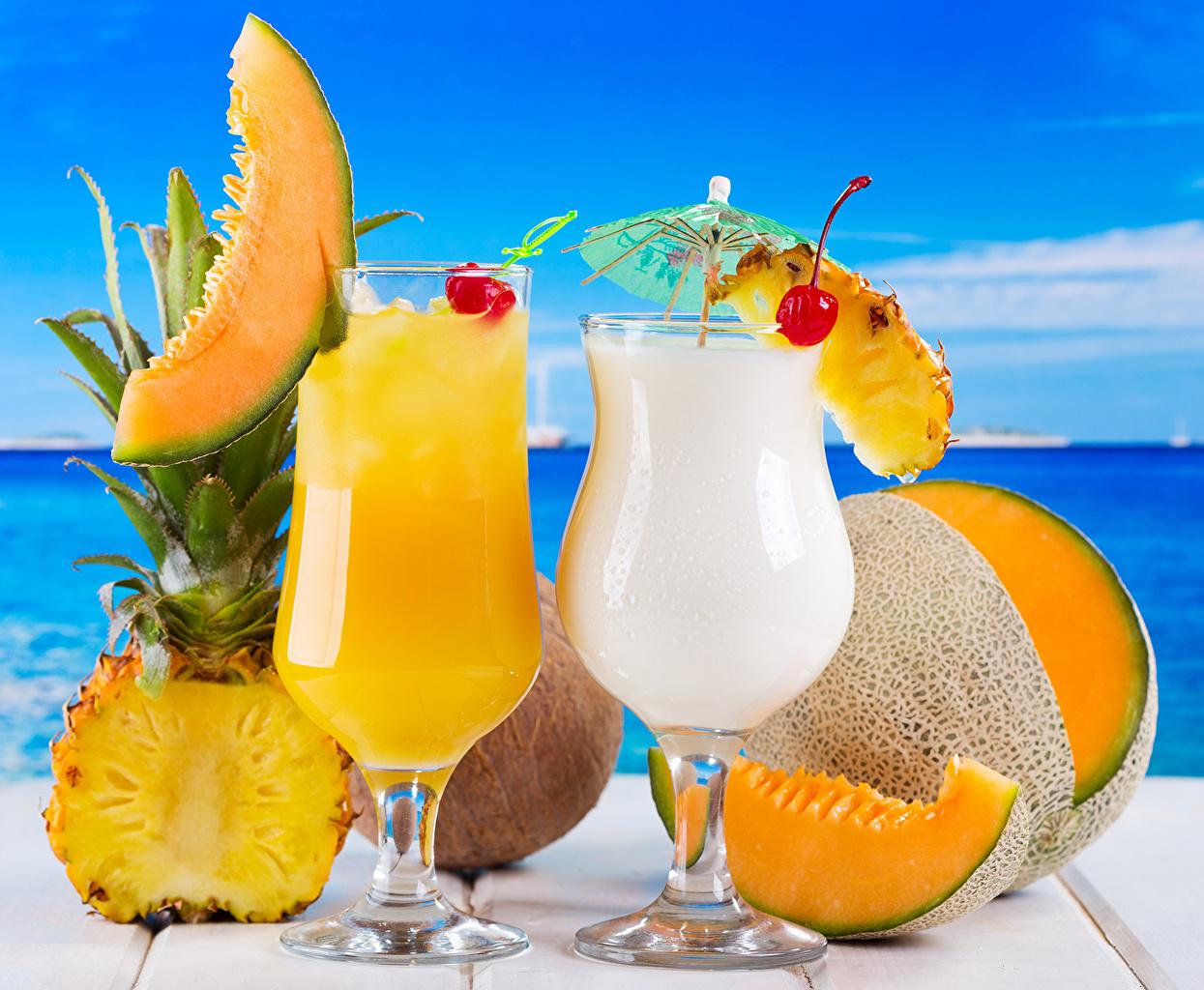 Обои для рабочего стола Сок Дыни Ананасы Еда Бокалы Напитки Пища бокал Продукты питания напиток