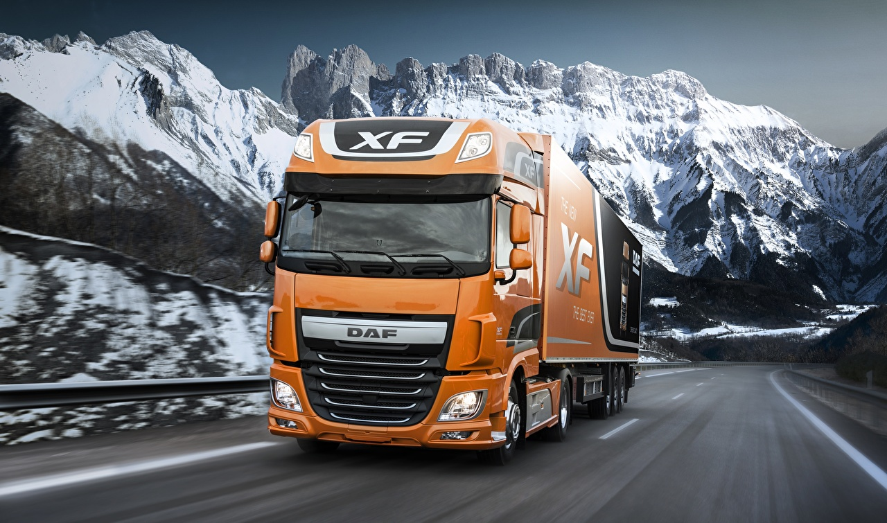Картинки DAF Trucks Грузовики 4х2 Euro6 XF 510 FT Оранжевый скорость машины Даф тракс оранжевая оранжевые оранжевых едет едущий едущая Движение авто машина Автомобили автомобиль