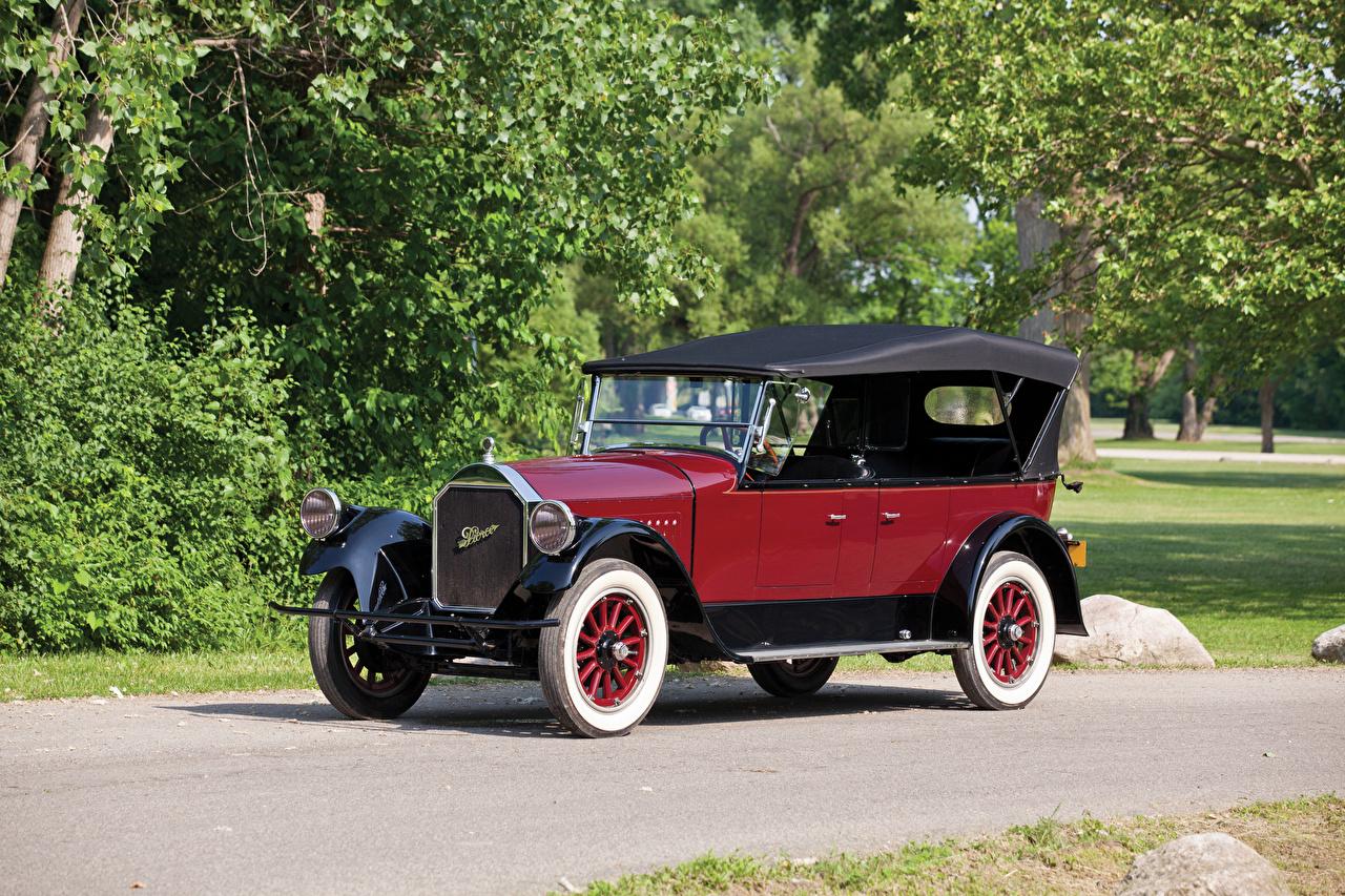 Фотография 1924 Pierce-Arrow Model 33 7-passenger Touring Винтаж бордовые Металлик автомобиль Ретро Бордовый бордовая старинные темно красный авто машина машины Автомобили