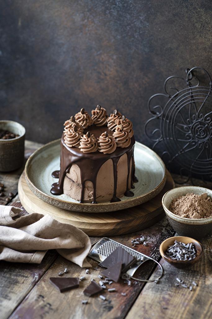 Картинки Шоколад Торты Какао порошок Еда Сладости Доски  для мобильного телефона Пища Продукты питания сладкая еда