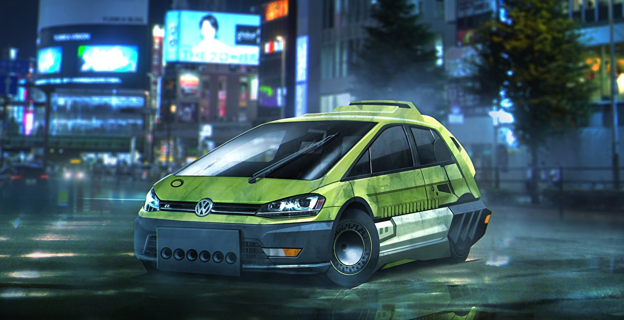 Картинка Бегущий по лезвию 2049 Фольксваген Golf Зеленый Фильмы Volkswagen Кино