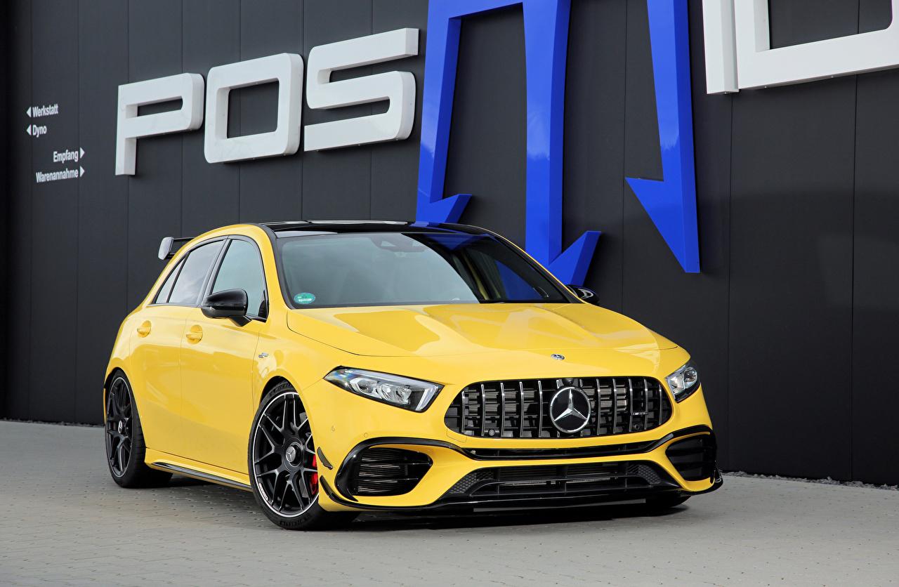 Фотографии Мерседес бенц 2020 Posaidon A 45 RS 525 желтых авто Металлик Mercedes-Benz желтая желтые Желтый машина машины Автомобили автомобиль