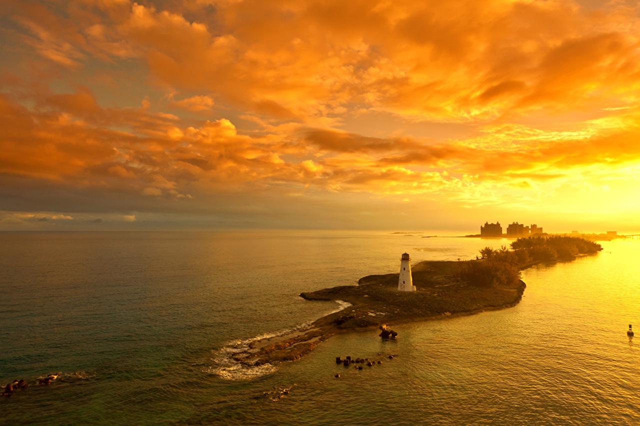 Обои для рабочего стола Nassau Bahamas Маяки Природа Небо Остров Рассветы и закаты рассвет и закат