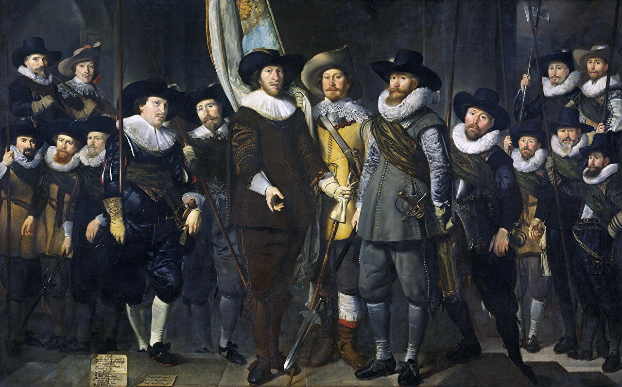 Фото Мужчины Thomas de Keyser, The Company of Captain Allaert Cloeck and Lieutenant Lucas Jacobsz. Rotgans Живопись картина