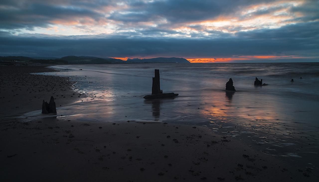 Картинки Море Природа рассвет и закат берег Рассветы и закаты Побережье