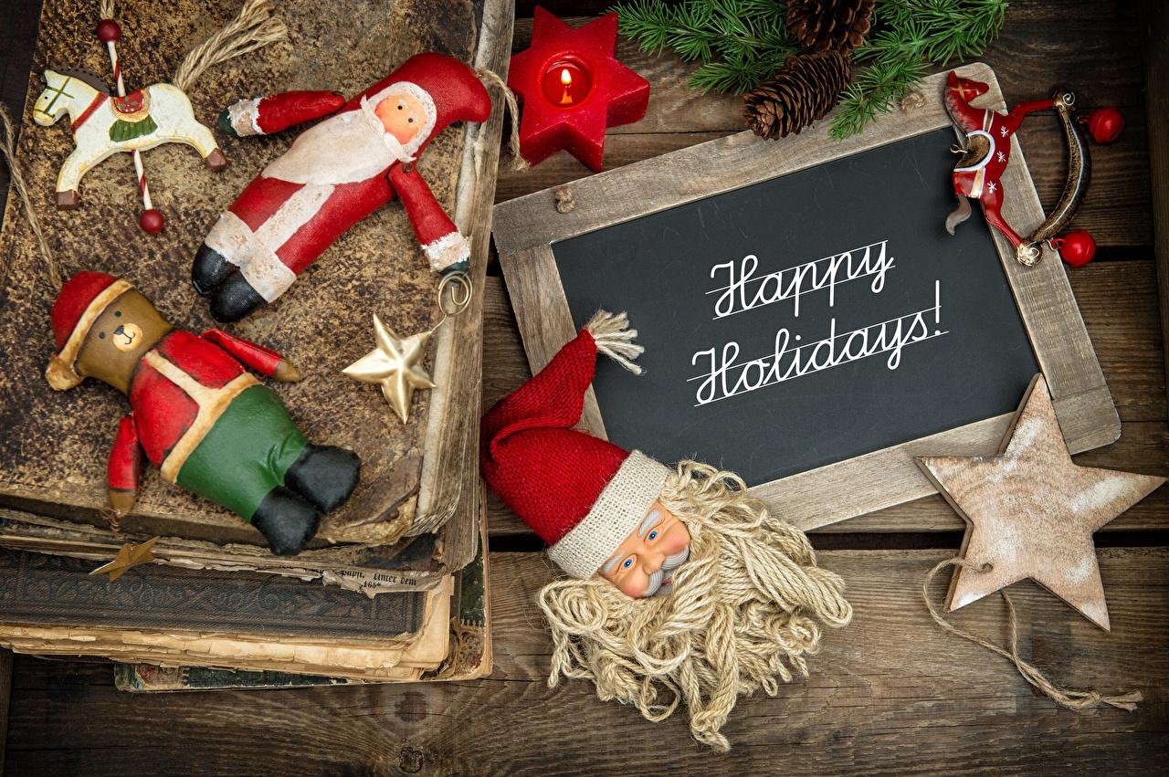 Фотографии Новый год Звездочки английская Дед Мороз Рождество инглийские Английский Санта-Клаус