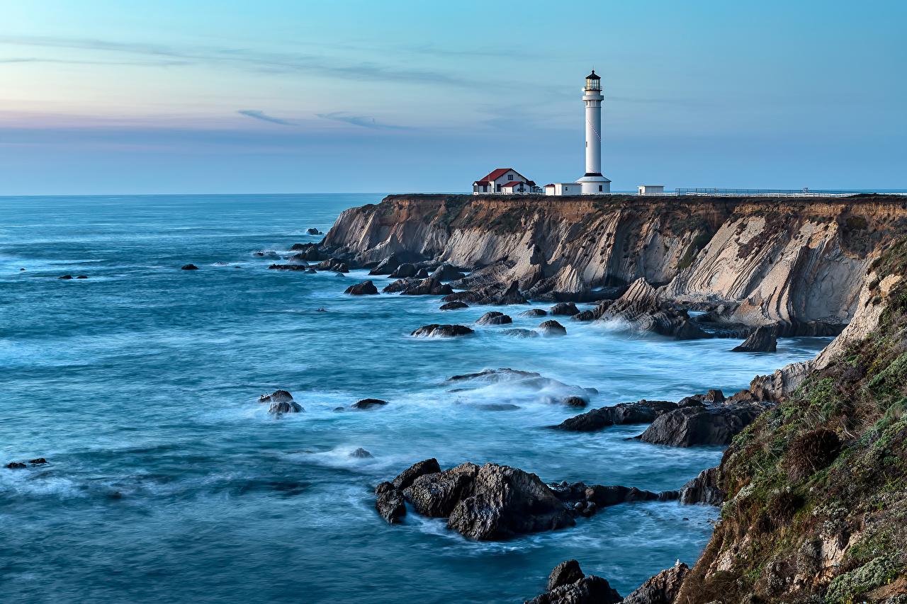 Фотография Калифорния штаты Point Arena lighthouse Маяки Природа берег калифорнии США америка маяк Побережье
