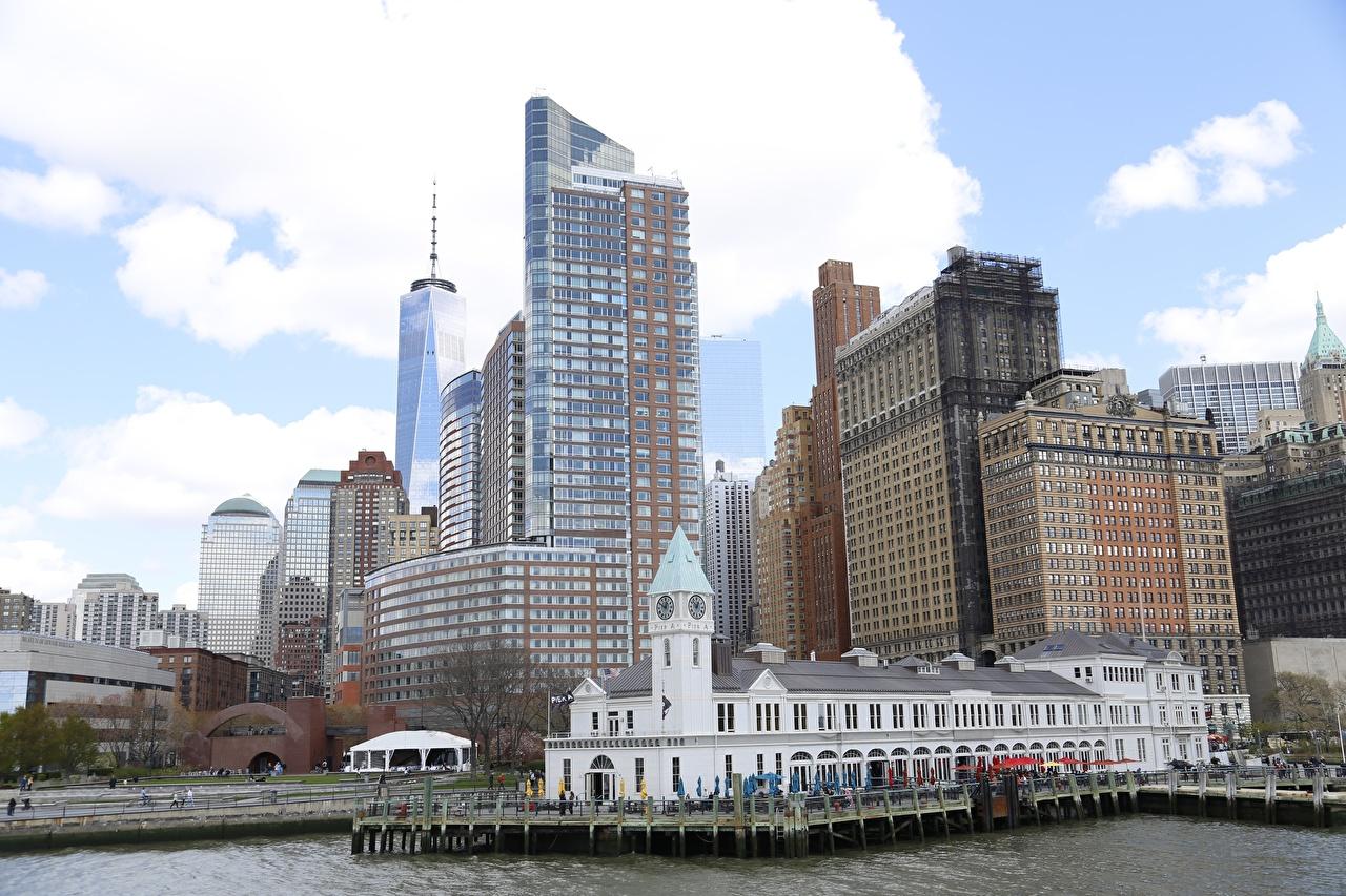 Фотография Нью-Йорк Манхэттен штаты Небоскребы Города США америка город