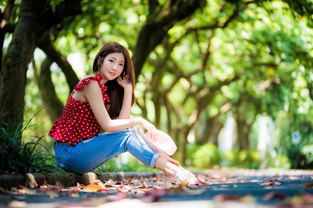 Фотографии Размытый фон Блузка шляпе молодые женщины Азиаты джинсов сидящие Взгляд боке шляпы Шляпа девушка Девушки молодая женщина Джинсы азиатки азиатка сидя Сидит смотрит смотрят