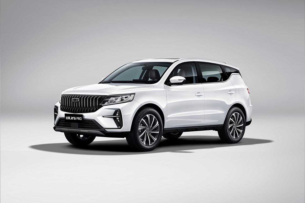 Картинка Geely Китайские CUV Vision X6 Pro, 2021 Белый Металлик Автомобили китайский китайская Кроссовер белая белые белых авто машины машина автомобиль