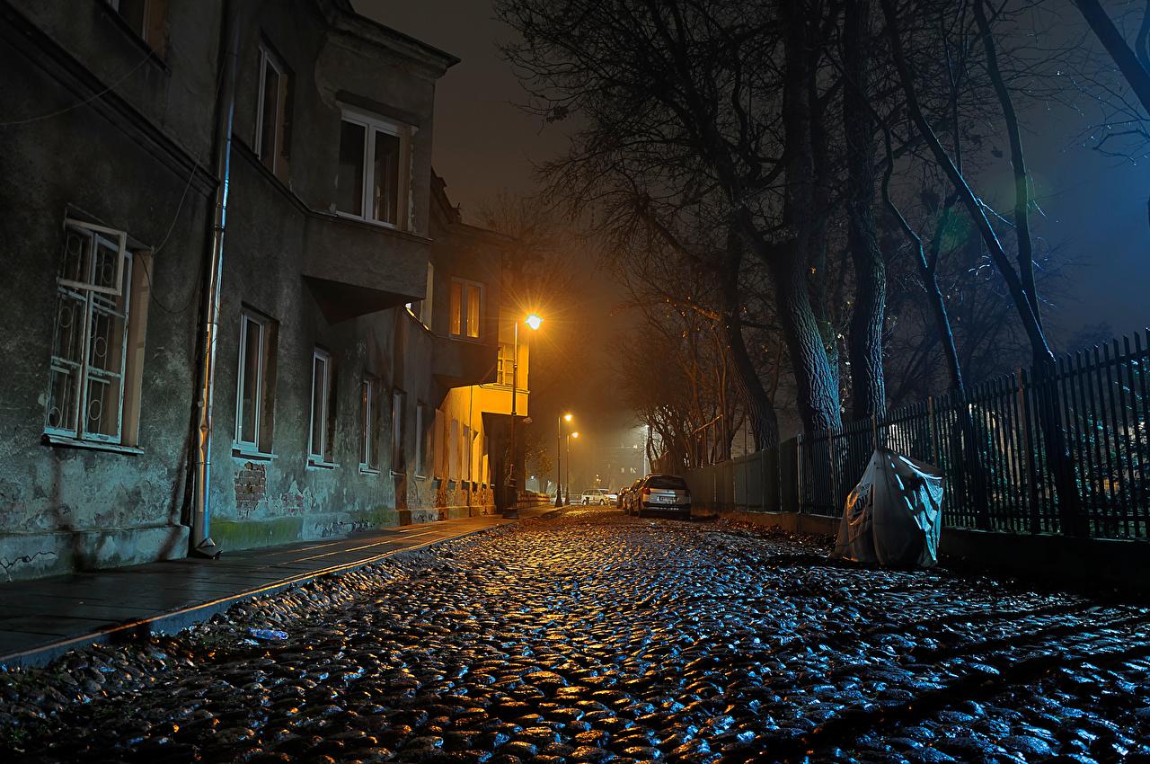 Обои фонари, забор, ночь, улица. Города foto 6