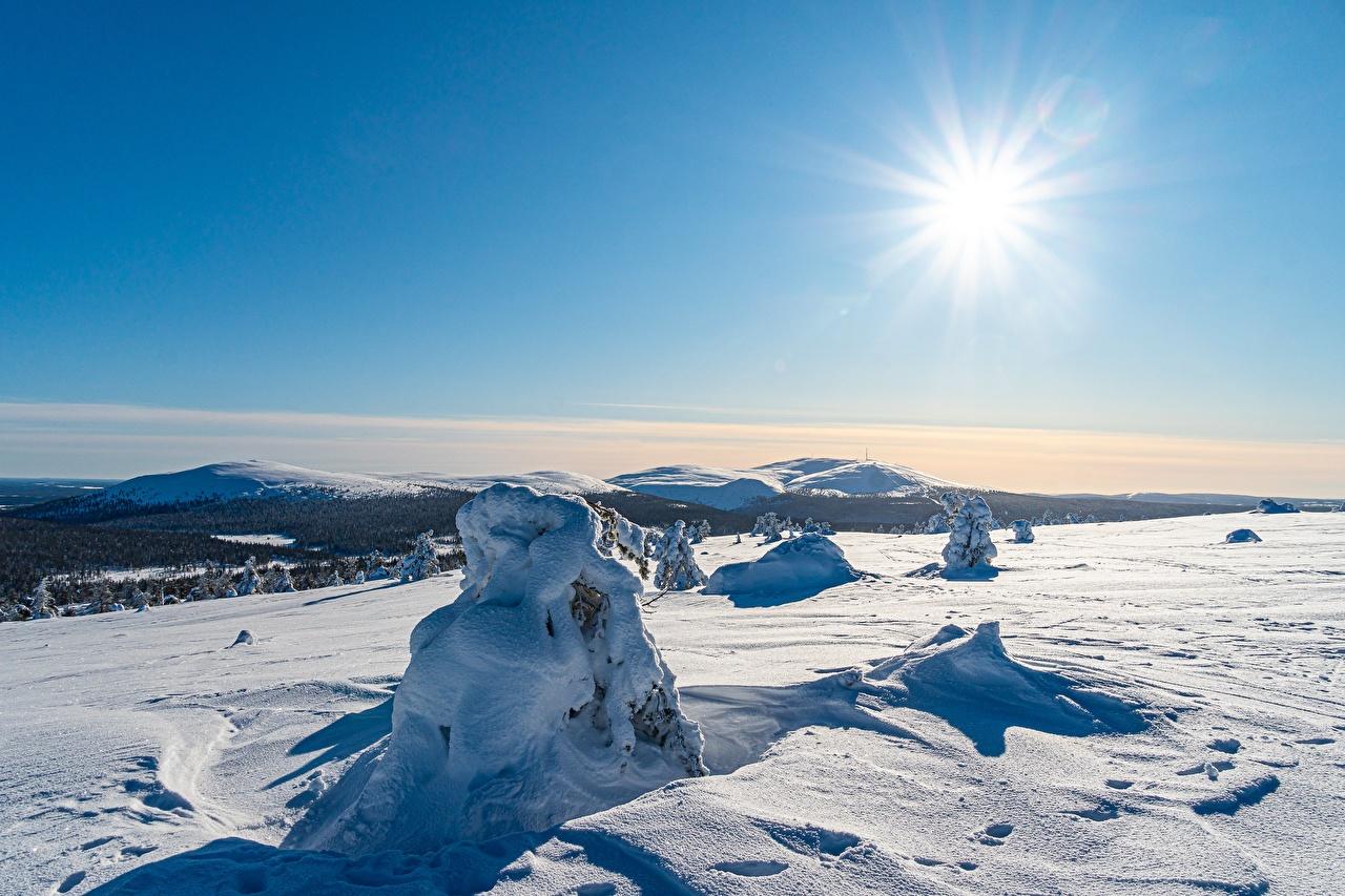 Картинка Лапландия область Финляндия Kolari зимние Солнце Природа Небо снега Зима солнца Снег снегу снеге