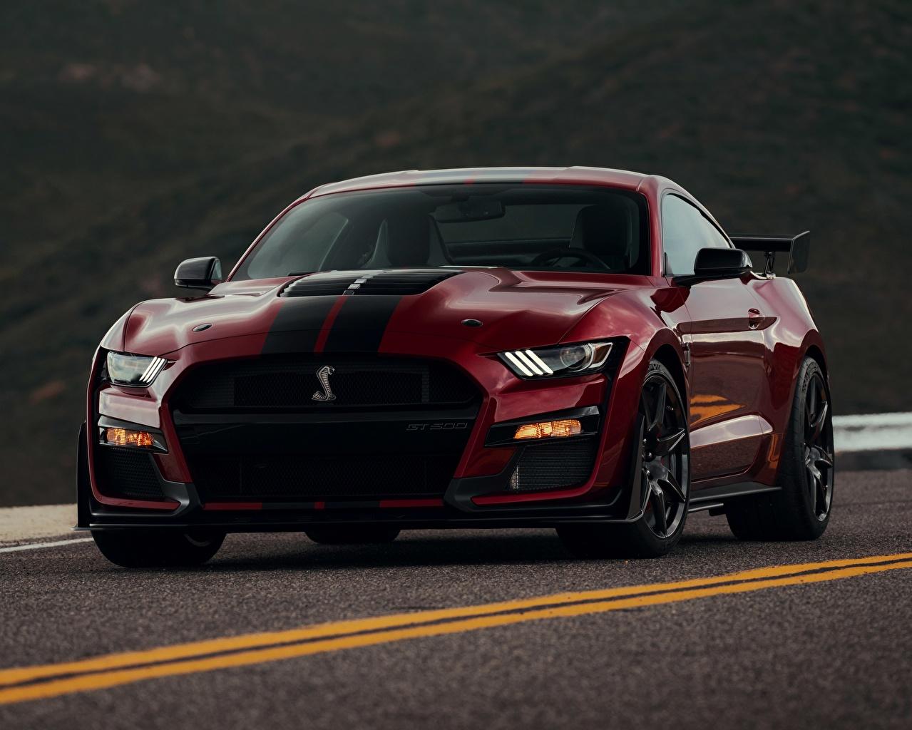 Фотография Ford Mustang Shelby GT500 2019 Бордовый Спереди автомобиль Форд бордовая бордовые темно красный авто машины машина Автомобили