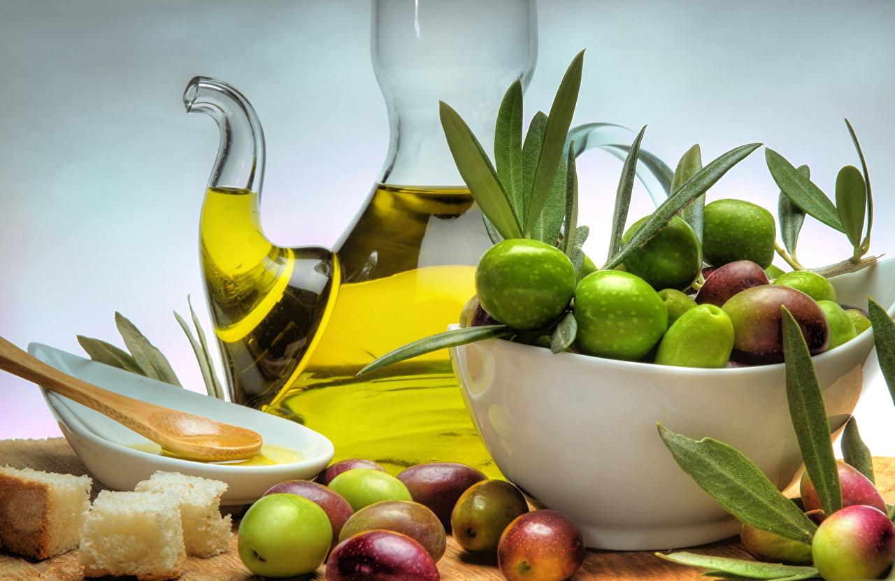 Фото Листья масла Оливки Хлеб Еда лист Листва Масло Пища Продукты питания