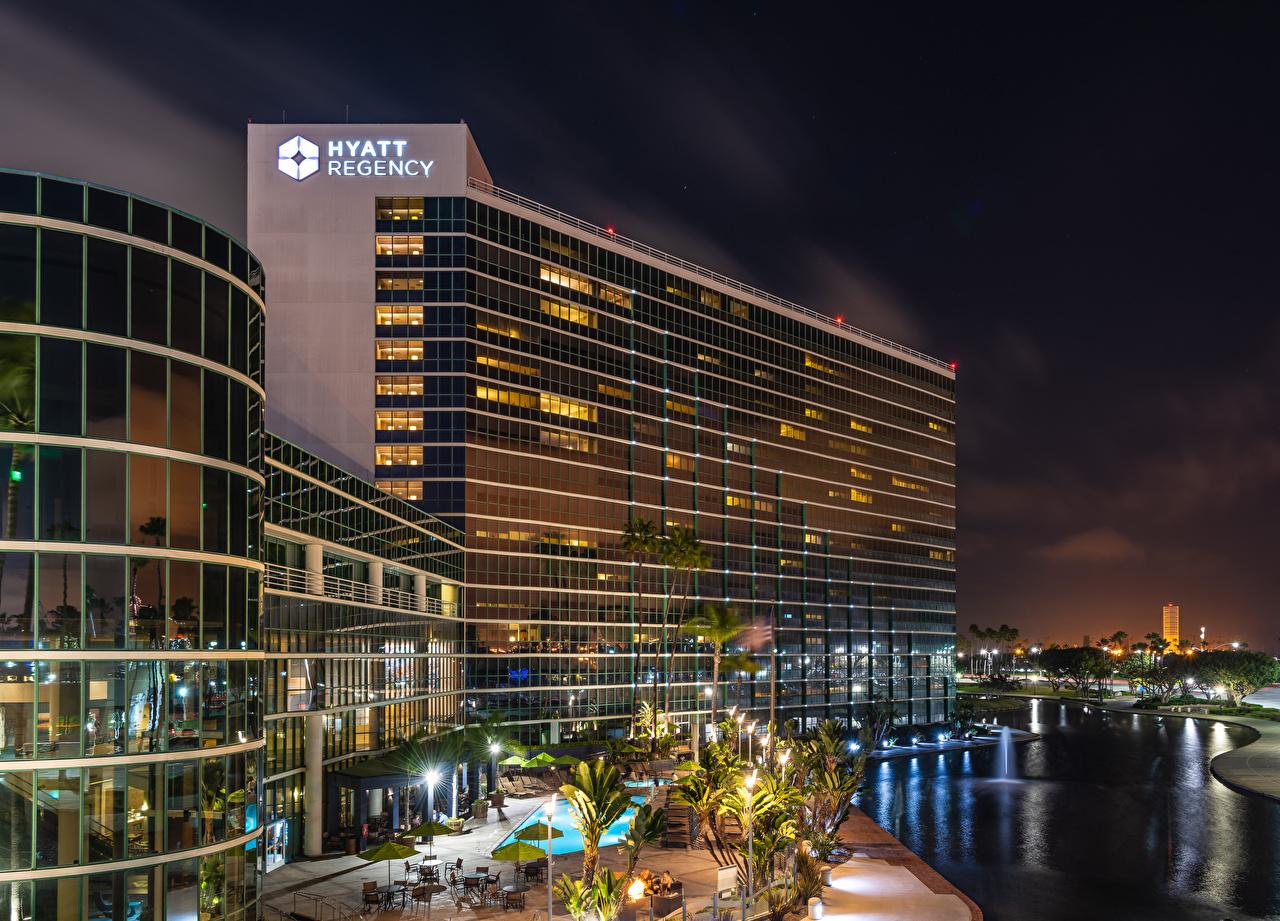 Фотографии США Long Beach речка Вечер Уличные фонари Города Здания штаты река Реки Дома город