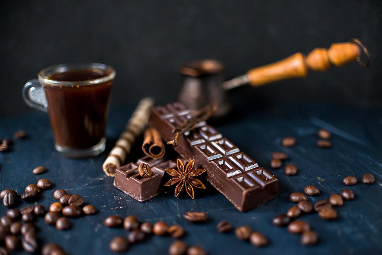 Фото Шоколад Кофе Зерна Турка Продукты питания зерно Еда Пища
