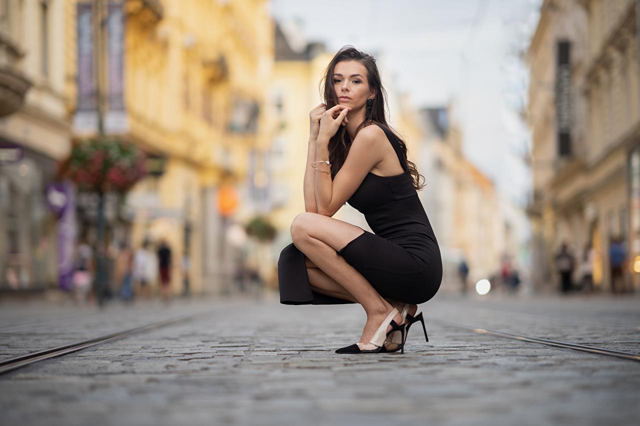 Фотография Размытый фон Поза молодая женщина сидящие смотрят платья боке позирует девушка Девушки молодые женщины сидя Сидит Взгляд смотрит Платье