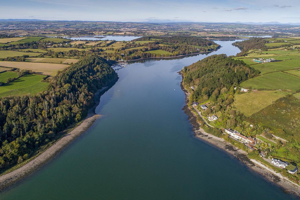 Фотографии Ирландия Belgrove Munster Природа Поля Реки Сверху Дома река речка Здания