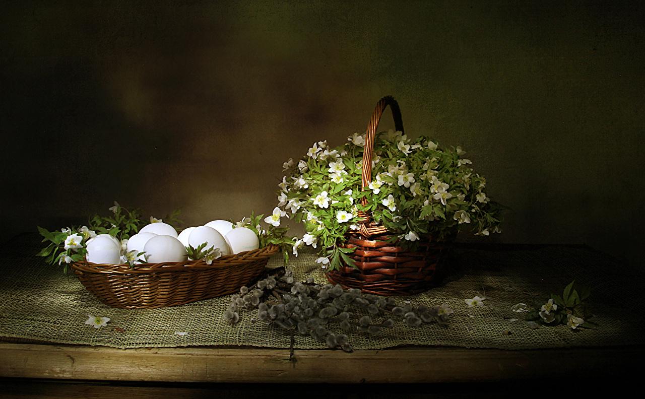 Фотографии Пасха яйцами цветок корзины Морозник Пища ветвь яиц яйцо Яйца Цветы Корзина Корзинка Еда Ветки ветка на ветке Продукты питания