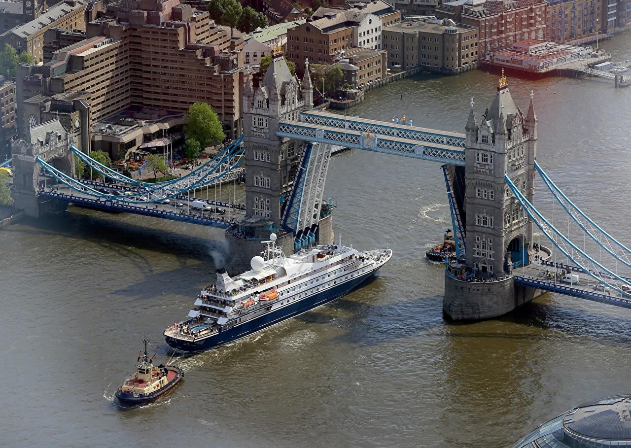 Обои Лондон Англия Thames, Tower bridge Мосты Корабли Реки Сверху Города речка